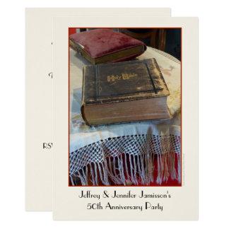 50. Jahrestags-Party Einladungs-Vintage Bibel Karte