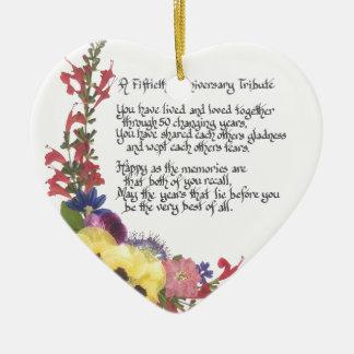 50. Jahrestags-Tribut Keramik Herz-Ornament