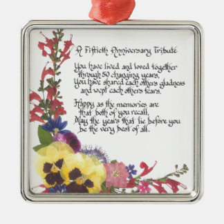 50. Jahrestags-Tribut Quadratisches Silberfarbenes Ornament