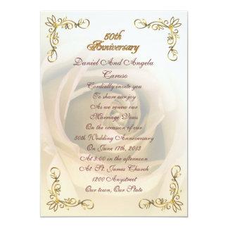 50. Jahrestagseinladung Sepia-Rose Karte