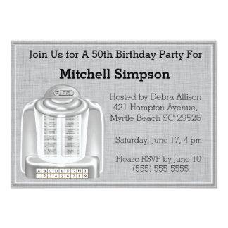 50. Musikautomat-Geburtstags-Einladungen 12,7 X 17,8 Cm Einladungskarte