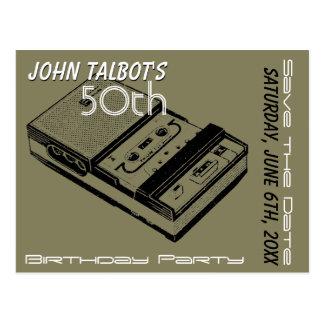 50. Party Geburtstag des O-Tonbandgeräts Save the Postkarte