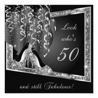 50. Silberner Glitter u. Schwarzes des Quadratische 13,3 Cm Einladungskarte