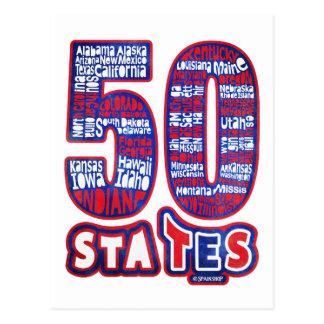 50 STATES USA POSTKARTE