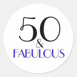 50 u. fabelhafte | Typografie-50. Geburtstag Runder Aufkleber