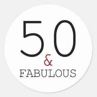 50. u. fabelhafte Typografie-50. Geburtstag Runder Aufkleber