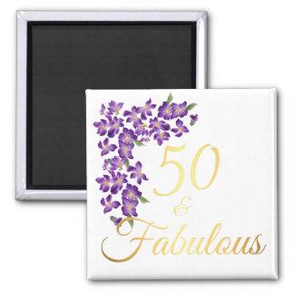 50 u. fabelhaftes Zitat-Imitat-Gold und violette Quadratischer Magnet