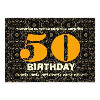 50. Überraschungs-Geburtstags-Gold und schwarzes 12,7 X 17,8 Cm Einladungskarte