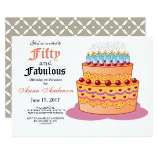 50 und fabelhafte 50. Geburtstags-Einladung 12,7 X 17,8 Cm Einladungskarte