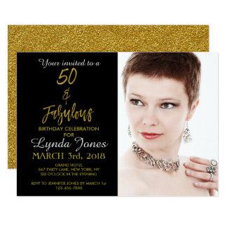 50 und fabelhafte Goldfolien-Geburtstags-Einladung 12,7 X 17,8 Cm Einladungskarte