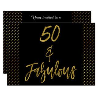 50 und fabelhafte Goldfolien-Geburtstags-Einladung Karte