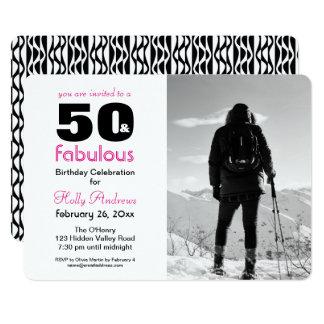 50 und fabelhafte Party Einladung mit B&W Foto