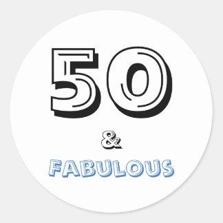 50 und fabelhafte | Typografie-50. Geburtstag Runder Aufkleber