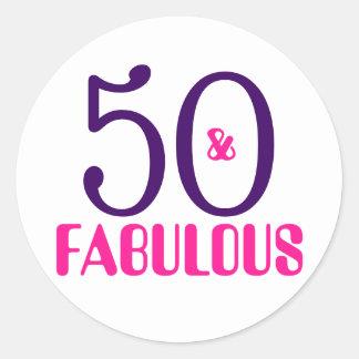 50 und fabelhafter | 50. Geburtstags-Aufkleber Runder Aufkleber
