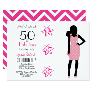 50 und fabelhafter 50. Geburtstags-Zickzack 12,7 X 17,8 Cm Einladungskarte
