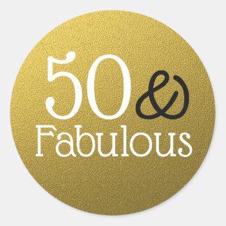 50 und fabelhafter GoldGlitzer-Geburtstag Runder Aufkleber