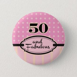 50 und fabelhafter Knopf Runder Button 5,1 Cm