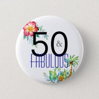50 und fabelhafter tropischer 50. Geburtstag Runder Button 5,1 Cm