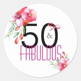 50 und fabelhaftes 50. Blumengeburtstags-Party Runder Aufkleber
