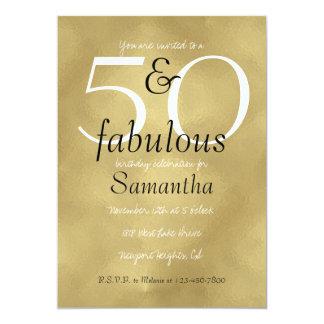 50 und fabelhaftes bezauberndes Gold 12,7 X 17,8 Cm Einladungskarte