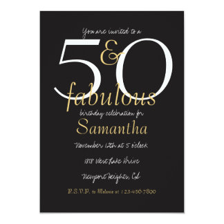 50 und fabelhaftes Gold Schwarz-weiß 12,7 X 17,8 Cm Einladungskarte