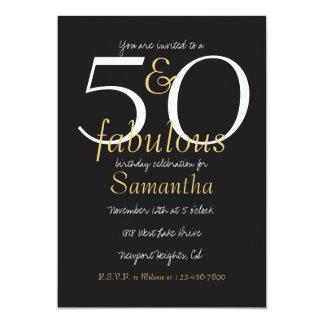 50 und fabelhaftes Gold Schwarz-weiß Karte