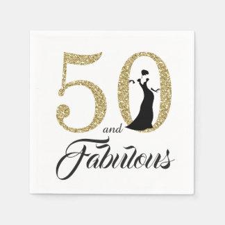 50 und fabelhaftes GoldGlitzer-Geburtstags-Party Papierserviette