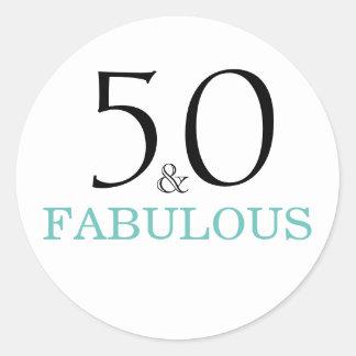 50 und Fabulous| Typografie-50. Geburtstag Runder Aufkleber