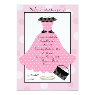 50er rosa Punkt-Kleidergeburtstags-Einladung