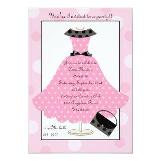 50er rosa Punkt-Kleidergeburtstags-Einladung 12,7 X 17,8 Cm Einladungskarte