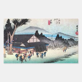 52. 石部宿, 広重 Ishibe-juku, Hiroshige, Ukiyo-e Rechrteckaufkleber