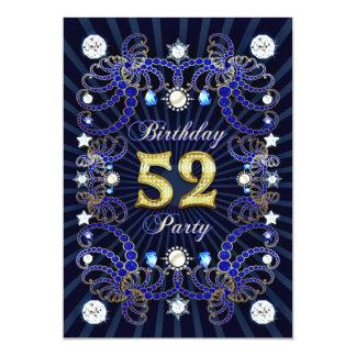 52. Geburtstags-Party laden mit Massen der Juwelen 12,7 X 17,8 Cm Einladungskarte