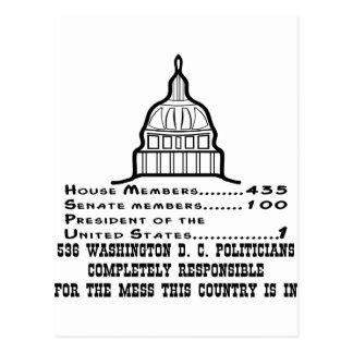 536 Washington DC-Politiker sind verantwortlich Postkarte