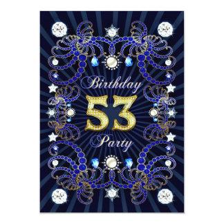 53. Geburtstags-Party laden mit Massen der Juwelen 12,7 X 17,8 Cm Einladungskarte
