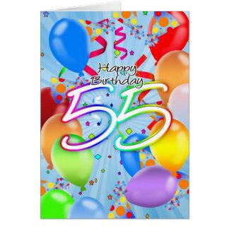55. Geburtstag - Ballon-Geburtstags-Karte - Karte