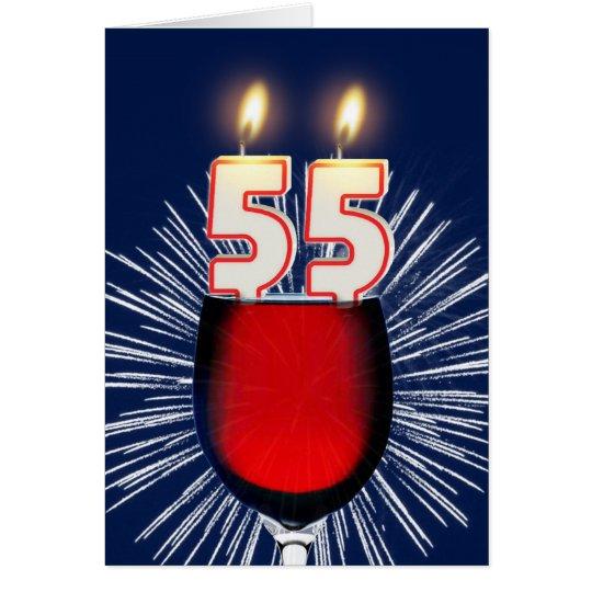 55. Geburtstag mit Wein und Kerzen Grußkarte
