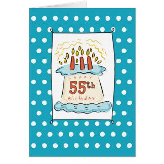55. Geburtstags-Kuchen auf blauem aquamarinem mit Karte