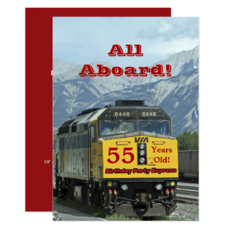 55. Geburtstags-Party Einladungs-Eisenbahn-Zug Karte
