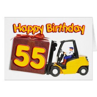 55. Geburtstagskarte mit einem Gabelstapler Karte