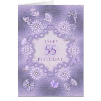 55. Geburtstagskarte mit Lavendel-Blumen Karte