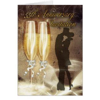 55. Hochzeitstag-Einladungs-Karte - Champag Karte