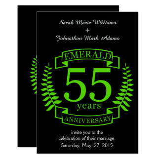 55. Hochzeitstag SMARAGD Karte