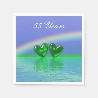 55. Jahrestags-Smaragd-Herzen Papierserviette