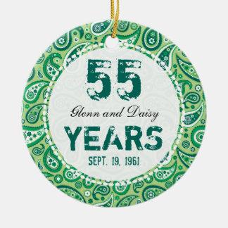 55. SmaragdHochzeitstag-Paisley-Monogramm Rundes Keramik Ornament