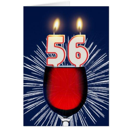 56. Geburtstag mit Wein und Kerzen Grußkarte