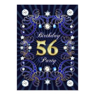 56. Geburtstags-Party laden mit Massen der Juwelen 12,7 X 17,8 Cm Einladungskarte