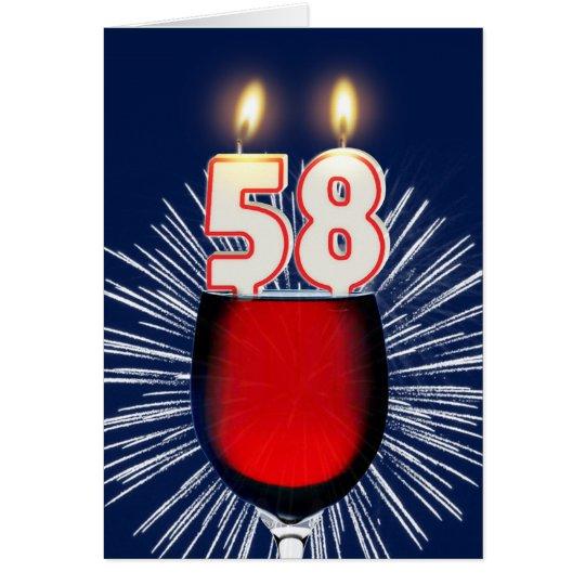 58. Geburtstag mit Wein und Kerzen Grußkarte