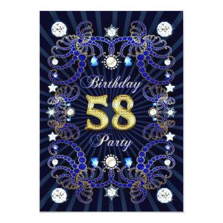 58. Geburtstags-Party laden mit Massen der Juwelen Individuelle Einladung