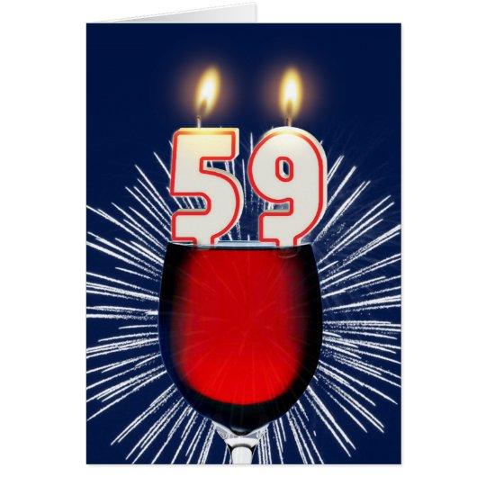59. Geburtstag mit Wein und Kerzen Grußkarte