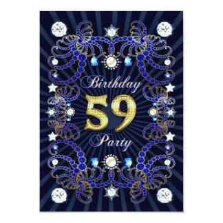59. Geburtstags-Party laden mit Massen der Juwelen 12,7 X 17,8 Cm Einladungskarte